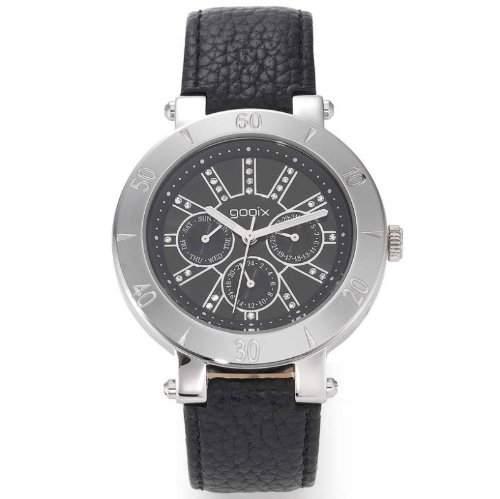 gooix GX01105000 Fashion Uhr Damenuhr Lederarmband Edelstahl 50m Analog Datum schwarz