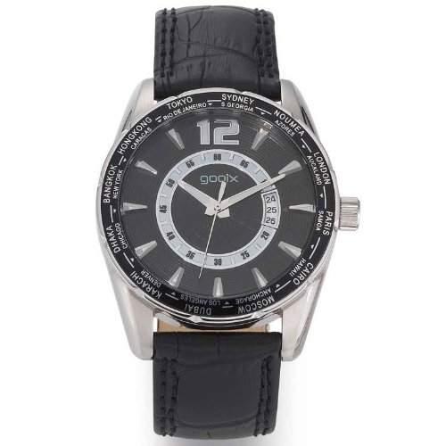 gooix GX01106000 Classic Uhr Herrenuhr Lederarmband Edelstahl 100m Analog Datum schwarz