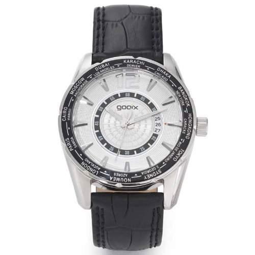 gooix GX01106004 Classic Uhr Herrenuhr Lederarmband Edelstahl 100m Analog Datum schwarz