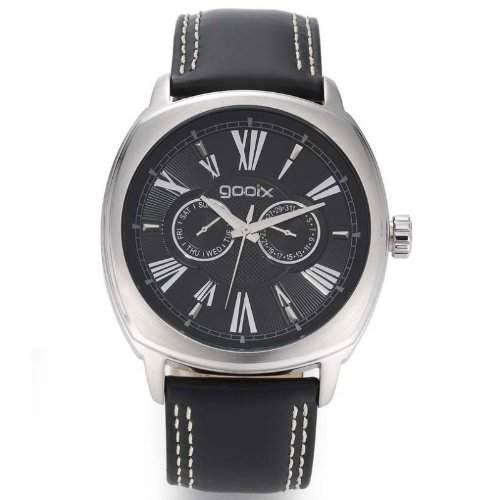 gooix GX01107000 Classic Uhr Herrenuhr Lederarmband Edelstahl 50m Analog Datum schwarz