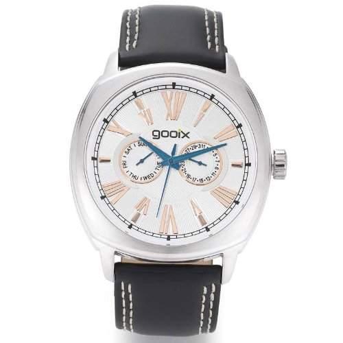gooix GX01107008 Classic Uhr Herrenuhr Lederarmband Edelstahl 50m Analog Datum schwarz