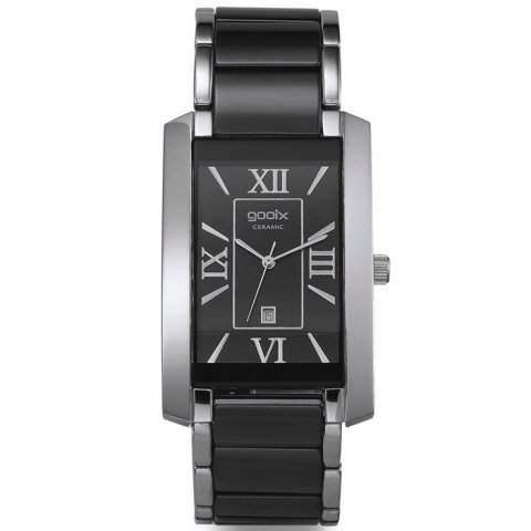 gooix GX01113300 Silver Privilege Uhr Herrenuhr kratzfestes Keramik Edelstahl 50m Analog Datum schwarz