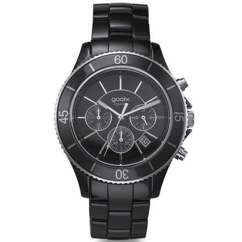gooix GX01117400 NYC Black Chronograph Uhr Herrenuhr kratzfestes Keramik 50m Analog Chrono Datum schwarz