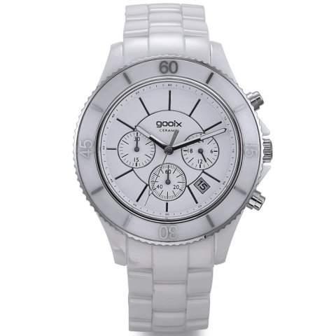 gooix GX01117411 NYC White Chronograph Uhr Herrenuhr kratzfestes Keramik 50m Analog Chrono Datum weiss
