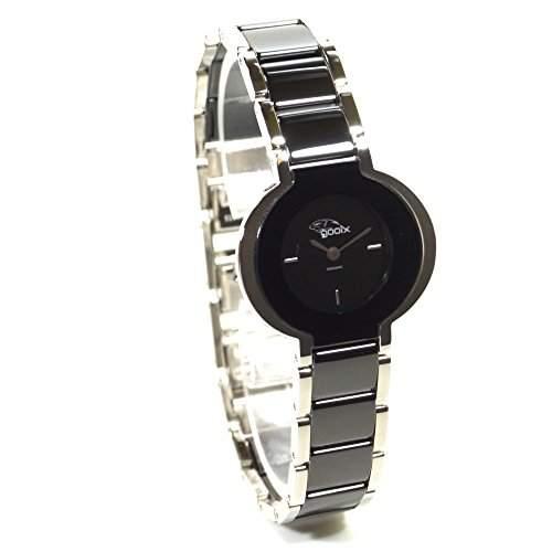 gooix GX01134300 Keramik Uhr Damenuhr kratzfestes Keramik Edelstahl 50m Analog schwarz