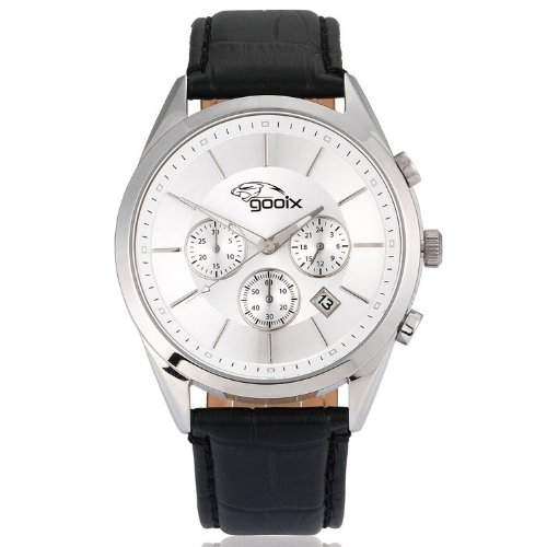 gooix GX01139004 Classic Chronograph Uhr Herrenuhr Lederarmband Edelstahl 50m Analog Chrono Datum schwarz
