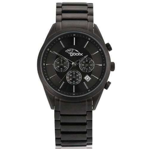 gooix GX01141500 Classic Chronograph Uhr Herrenuhr Edelstahl Edelstahl 50m Analog Chrono Datum schwarz