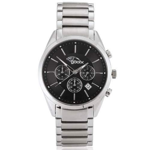gooix GX01142590 Classic Chronograph Uhr Herrenuhr Edelstahl Edelstahl 50m Analog Chrono Datum schwarz