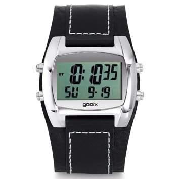 gooix GX05019005 Herrenuhr Lederband Edelstahl 30m Digital Datum Chronograph Licht Alarm Timer schwarz