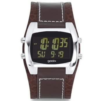 gooix GX05019006 Herrenuhr Lederband Edelstahl 30m Digital Datum Chronograph Licht Alarm Timer braun