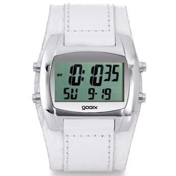 gooix GX05019007 Herrenuhr Lederband Edelstahl 30m Digital Datum Chronograph Licht Alarm Timer weiss
