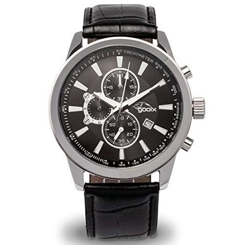 gooix GX0600300A Chronograph Uhr Herrenuhr Lederarmband Edelstahl 100m Analog Chrono Datum schwarz