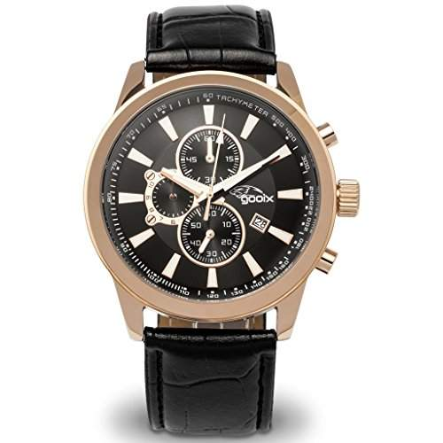gooix GX0600300B Chronograph Uhr Herrenuhr Lederarmband Edelstahl 100m Analog Chrono Datum schwarz rosé