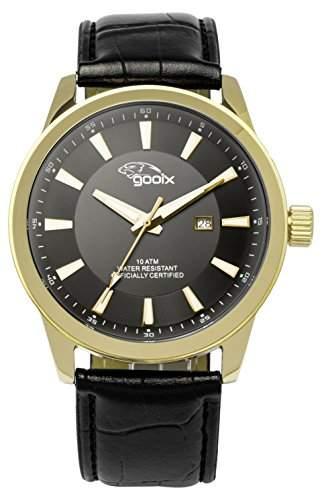 gooix Herren-Armbanduhr GX-06003-00D Edelstahl Lederband
