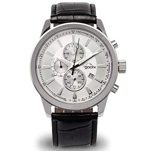 gooix GX06003018 Chronograph Uhr Herrenuhr Lederarmband Edelstahl 100m Analog Chrono Datum schwarz