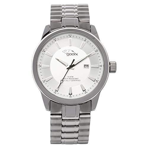 gooix Herren-Armbanduhr Edelstahl silber IP-beschichtet analog GX-06003-91B