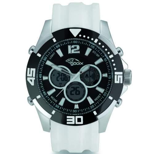 gooix GX07005010 Chronograph Uhr Herrenuhr Kautschuk Edelstahl 100m Digital Chrono Datum Licht Alarm weiss