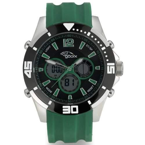 gooix GX07005030 Fashion Chronograph Uhr Herrenuhr Kautschuk Edelstahl 100m Analog Chrono Datum Licht Alarm gruen
