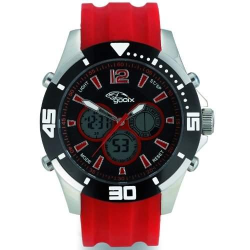gooix GX07005050 Chronograph Uhr Herrenuhr Kautschuk Edelstahl 100m Digital Chrono Datum Licht Alarm rot
