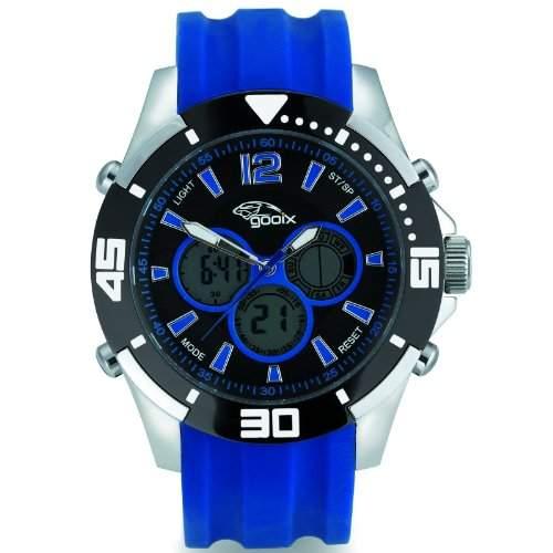 gooix GX07005060 Chronograph Uhr Herrenuhr Kautschuk Edelstahl 100m Digital Chrono Datum Licht Alarm blau