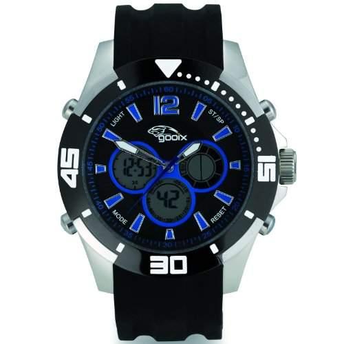 gooix GX07005091 Chronograph Uhr Herrenuhr Kautschuk Edelstahl 100m Digital Chrono Datum Licht Alarm schwarz