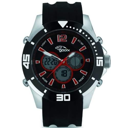gooix GX07005093 Chronograph Uhr Herrenuhr Kautschuk Edelstahl 100m Digital Chrono Datum Licht Alarm schwarz