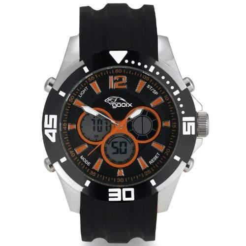 gooix GX07005094 Chronograph Uhr Herrenuhr Kautschuk Edelstahl 100m Digital Chrono Datum Licht Alarm schwarz