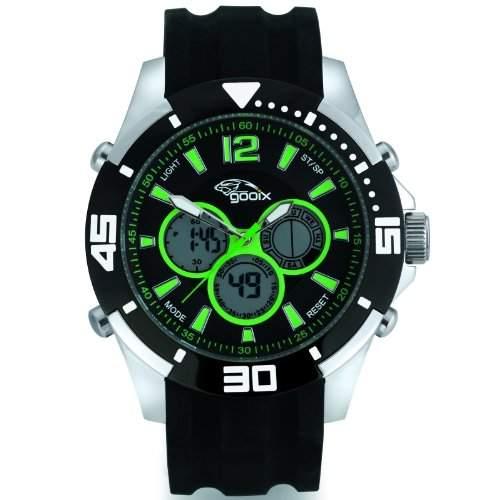 gooix GX07005098 Chronograph Uhr Herrenuhr Kautschuk Edelstahl 100m Digital Chrono Datum Licht Alarm schwarz