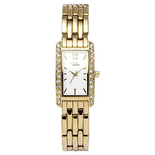 gooix Damen-Armbanduhr gold Edelstahl Zirkonia analog GX-07009-661