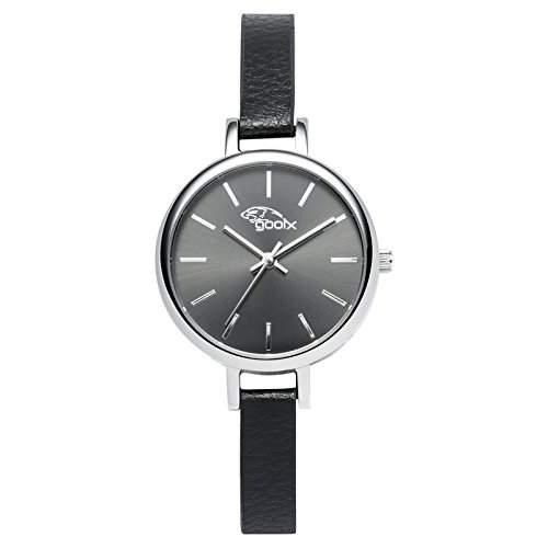 gooix Damen-Armbanduhr schwarz-silber Lederband Edelstahlgehaeuse GX-08003-40A