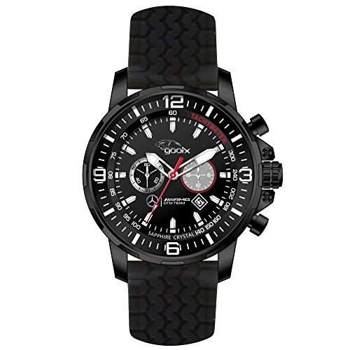 gooix HUA-05419 Mercedes AMG DTM Chronograph Uhr Herrenuhr Kautschuk Edelstahl 100m Analog Chrono Datum schwarz LIMITIERT auf 999 Stueck