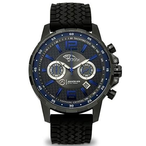 gooix HUA-05669 Mercedes AMG DTM Chronograph Uhr Herrenuhr Kautschuk Edelstahl 100m Analog Chrono Datum schwarz