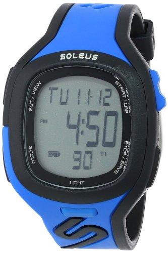 Soleus Herren Armbanduhr 42mm Armband Harz Blau Gehaeuse Plastik Batterie Zifferblatt Grau SR016040