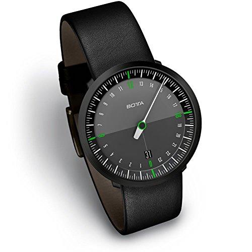 Botta 228010BE Uno 24 Neo Herren Edelstahl Lederband Schwarz Zifferblatt Pop Diamant Uhr