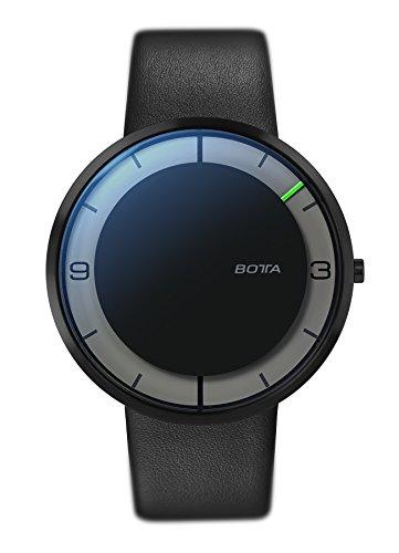 Botta Design NOVA Einzeigeruhr Edelstahl schwarzes Zifferblatt Black Edition Lederband