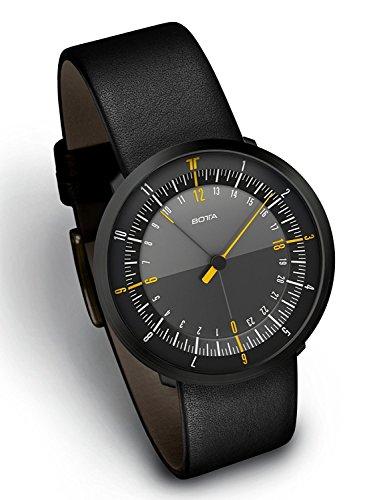 Botta Herren DUO 24 schwarz Edelstahlgehaeuse schwarz Leder schwarz Dial Edition Dual Timer Uhr