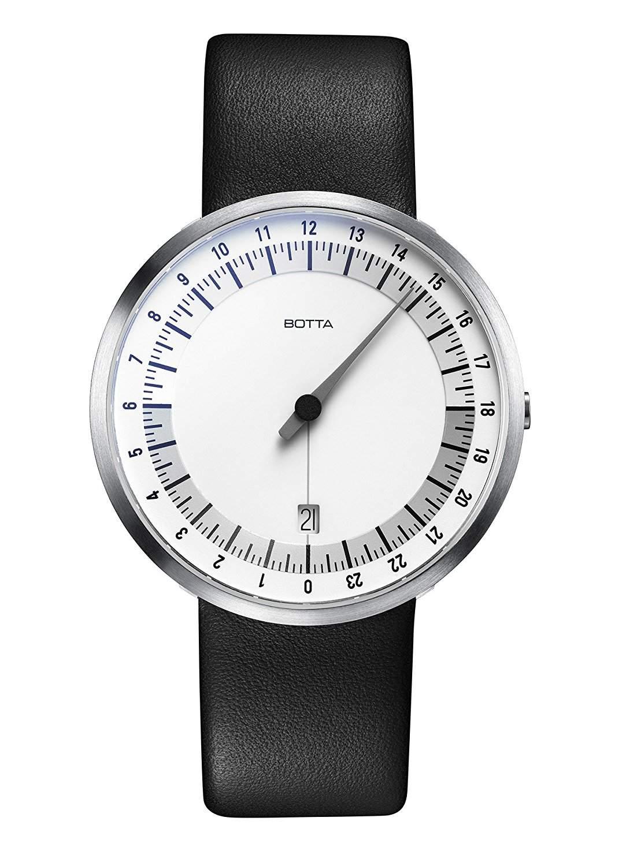 Botta-Design UNO 24 Armbanduhr - 24H Einzeigeruhr, Edelstahl, weisses Zifferblatt, Saphirglas Antireflex, Lederband