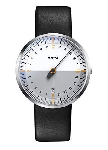 Botta-Design UNO 24 NEO Armbanduhr, weiss - 24H Einzeigeruhr, Edelstahl, grauer Zeiger, Saphirglas Antireflex, Lederband