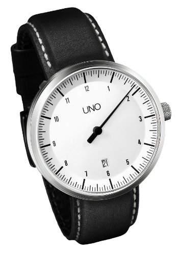 Botta-Design UNO ALPIN Automatik Armbanduhr - Einzeigeruhr, Edelstahl, weisses Zifferblatt, Lederband