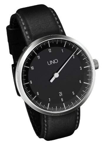 Botta-Design UNO Carbon Automatik Armbanduhr - Einzeigeruhr, Edelstahl, schwarzes Zifferblatt, Lederband
