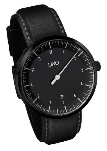 Botta-Design UNO Carbon Automatik Armbanduhr - Einzeigeruhr, Edelstahl, schwarzes Zifferblatt, Black Edition, Lederband