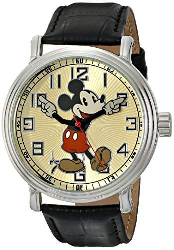 Disney by Ewatchfactory Herren-Armbanduhr Mickey Vintage Watch Analog leder schwarz 56109