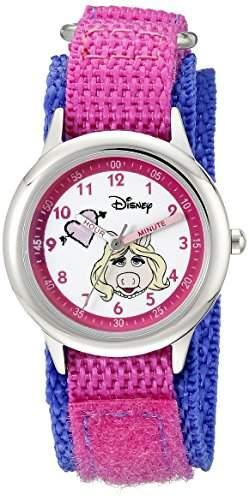 Disney by Ewatchfactory Kinder-Armbanduhr Stainless Steel Time Teacher Lernuhr Nylon Rosa W000164