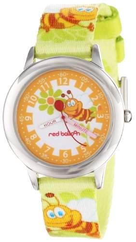 Red Balloon Unisex-Armbanduhr Stainless Steel Time Teacher Lernuhr Nylon gruen, W000190
