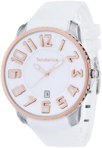 Tendence Unisex Armbanduhr Gulliver Slim mit weissem Zifferblatt Analog Anzeige und weisse TS151004 Kunststoff