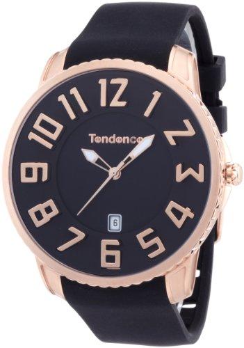 Tendence Gulliver Slim Unisex Quarzuhr mit schwarzem Zifferblatt Analog Anzeige und Kunststoff oder PU Gurt schwarz TS151003