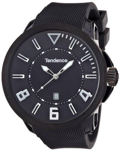 Tendence Gulliver Sport Unisex Quarzuhr mit schwarzem Zifferblatt Analog Anzeige und Kunststoff oder PU Gurt schwarz TT530002