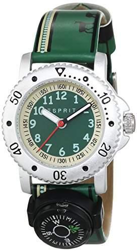 Esprit Jungen-Armbanduhr Savanna Trek Green Analog Quarz Leder ES108334007