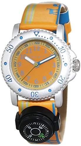 Esprit Jungen-Armbanduhr Savanna Trek Orange Analog Quarz Leder ES108334006