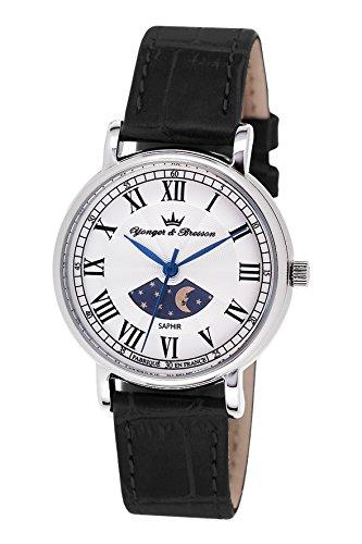 Yonger Bresson DCC 1696 01 045J699 Analog silber Armband Leder Schwarz